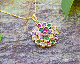 Multi-colour stone 18kGoldfilled Pendant