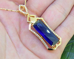 Sapphire Simulant 18ktGoldfilled Pendant