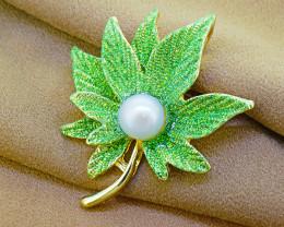 Pearl & Enamel Maple Leaf Brooch
