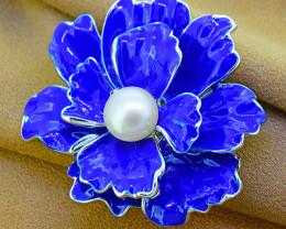 Pearl & Enamel Flower Brooch