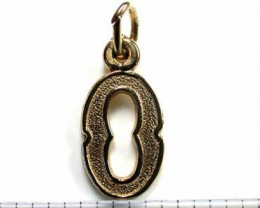 .90 grams 9K SOLID GOLD CHARM ACCESSORY LETTER O L1641