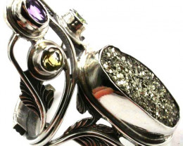 WILD PYRITE STYLISH SILVER RING FREESIZE 9-12 GTJA425
