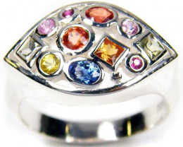 PARTY SAPPHIRES IN STERLING SILVER RING SIZE 9 GTJA39
