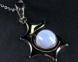 BLUE LACE GEMSTONE SILVER PENDANT GRR 207