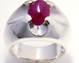 MODERN RUBY STERLING SILVER RING SIZE 7.5 GTJA 100