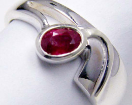 MODERN RUBY STERLING SILVER RING SIZE 9 GTJA 105