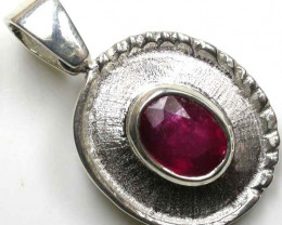 NATURAL RUBY SILVER PENDANT  GTJA90