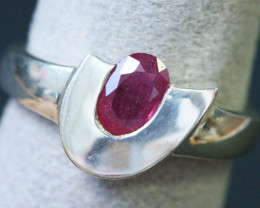 Natural Red Ruby in Silver Ring Size 9 BU1504
