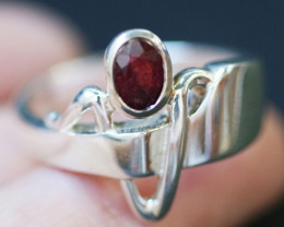 Natural Red Ruby in Silver Ring Size7.5 BU1506