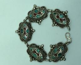 Vintage Tibetian Design Bracelet Coral & Torquise