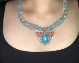 Vintage Tibetian Design Necklace Coral & Torquise