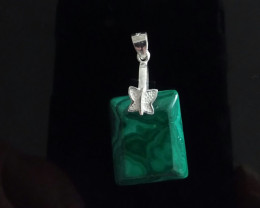 NATURAL HAND CARVED MALACHITE PENDANT SS 925
