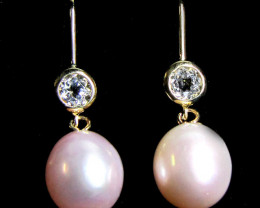 STYLISH 9K GOLD PEARL N AQUAMARINE EARRING GTJA 286