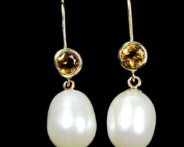 STYLISH 9K GOLD PEARL N CITRINE GEMSTONE EARRINGS GTJA 288