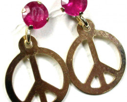 PEACE RUBY 10K YELLOW GOLD EARRINGS GTJA230