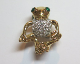 Wild Collection Frog Brooch Enamel & Pewter