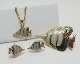 Tropical Reef Fish Collection Brooch, Pendant, Earrings