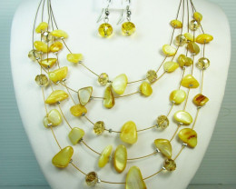 YELLOW SHELL NECKLACE WITH MATCHING EARRINGS QT111