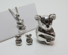 Wild Collection Australian Koala Brooch,Pendant Earring Set