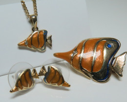 Tropical Reef Fish Collection Brooch, Pendant, Earrings Set