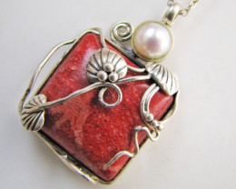 Beustiful Fossil  Coral &Fresh water  Pearl Pendant MJA 1041