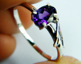AMETHYST SET IN 14 K GOLD RING SIZE 7.5 MY 314