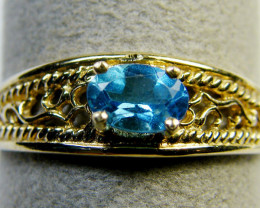 BLUE TOPAZ FIGERINE DESIGN RING SIZE 9 MY 902