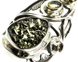 PYRITE STYLISH SILVER RING FREESIZE GTJA427