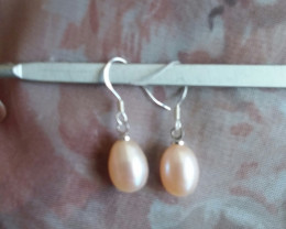 BEAUTIFUL NATURAL PEARL EARRINGS HIGH LUSTER SS 925