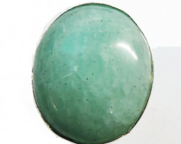 Large Oval Amazonite in Silver Ring size 8 JGG 127