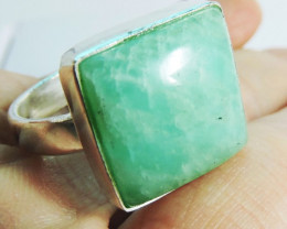 Large Square Amazonite in Silver Ring size 8 JGG 125