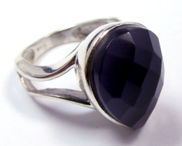 AMETHYST STYLISH SILVER RING SIZE 7 GG 828
