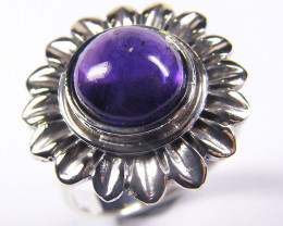 AMETHYST STYLISH SILVER RING SIZE 8 GRR 143