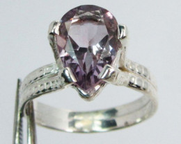 FACETED AMETHYST STYLISH SILVER RING SIZE 9 GG1040