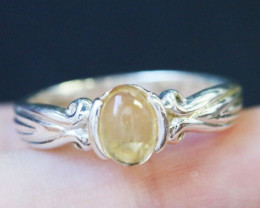 Natural Citrine in Silver Ring Size 6.5 BU1495