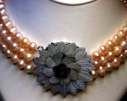 THREE STRAND PINK APRICOT PEARL NECKLACE  190689