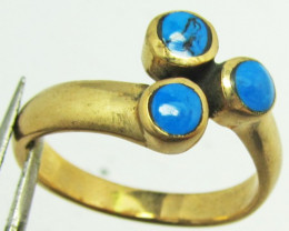 CLUSTER TURQUOISE RING SIZE 8 GG 1112