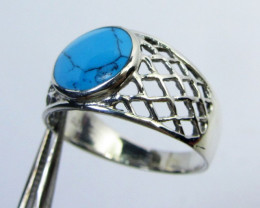 TURQUOISE SILVER RING SIZE 10 GG 1012