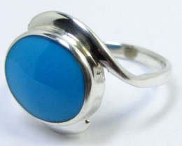 TURQUOISE SILVER RING SIZE 7.5 GG 1006