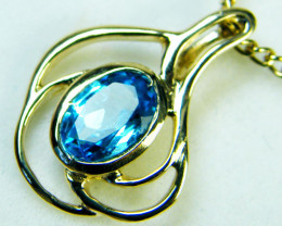 BEAUTIFUL BLUE TOPAZ 14K YELLOW GOLD PENDANT MY229
