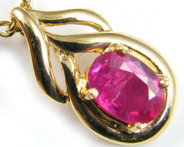 NATURAL RUBY 14K YELLOW GOLD PENDANT MYT 800