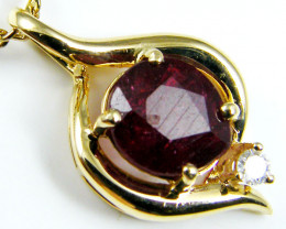 NATURAL RUBY 14K YELLOW GOLD PENDANT  WITH DIAMOND MYT 799