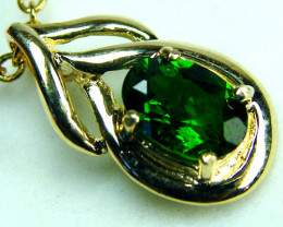 CHROME DIOPSIDE STONE 14K YELLOW GOLD PENDANT  MY227