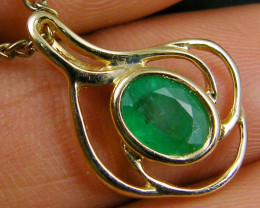EMERALD 14K YELLOW GOLD PENDANT MYT 783