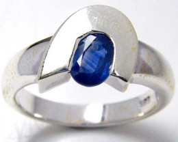 MODERN SAPPHIRE STERLING SILVER RING SIZE 8 GTJA 115