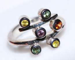 PARTY SAPPHIRES IN STERLING SILVER RING SIZE 7.5 GTJA421
