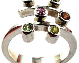 PARTY SAPPHIRES IN STERLING SILVER RING SIZE 8.5 GTJA423