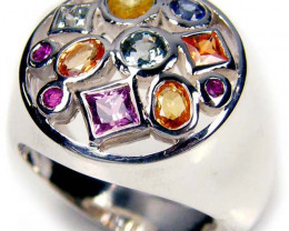 PARTY SAPPHIRES IN STERLING SILVER RING SIZE 8 GTJA 42