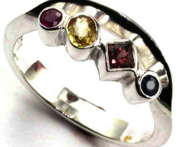 PARTY SAPPHIRES IN STERLING SILVER RING SIZE 8 GTJA418