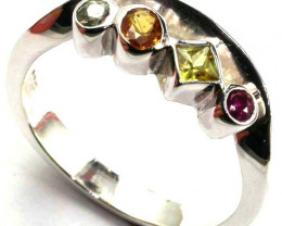 PARTY SAPPHIRES IN STERLING SILVER RING SIZE 8.5 GTJA419